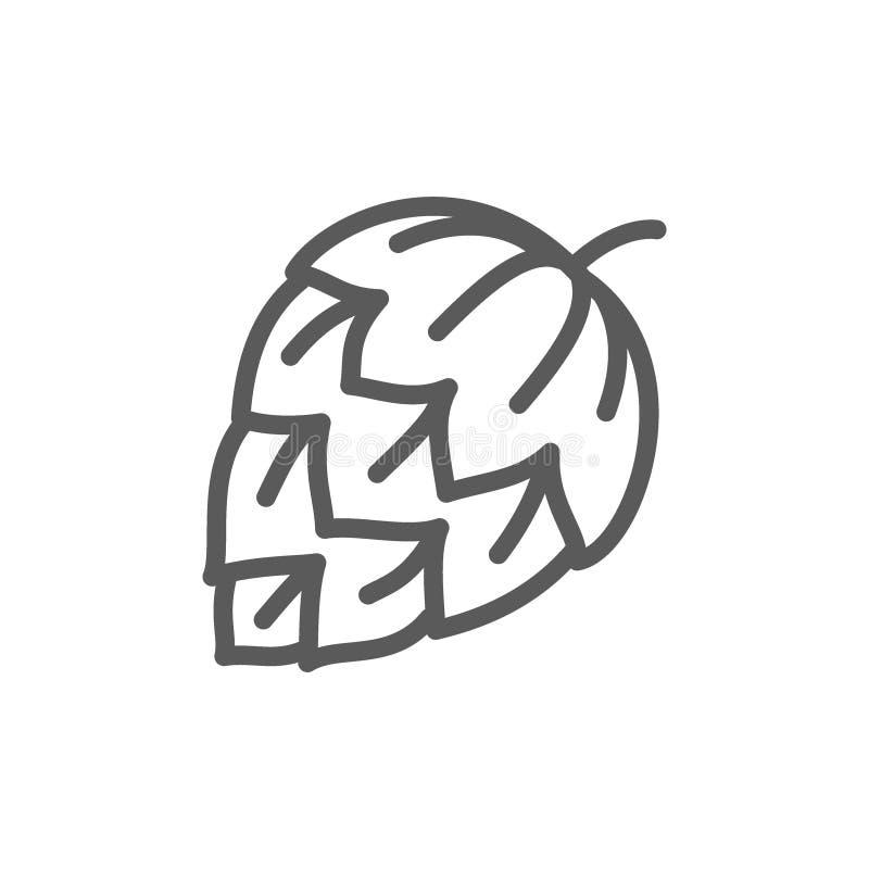 Ligne icône de houblon en cônes illustration de vecteur