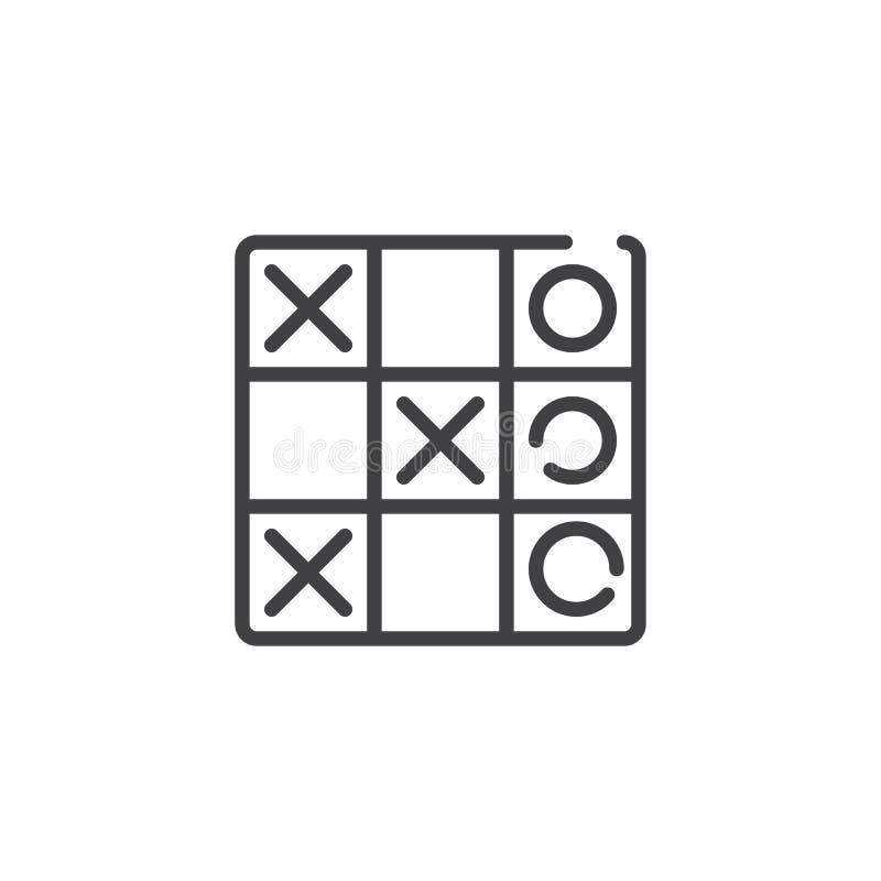 Ligne icône de jeu d'orteil de tac de tic illustration de vecteur