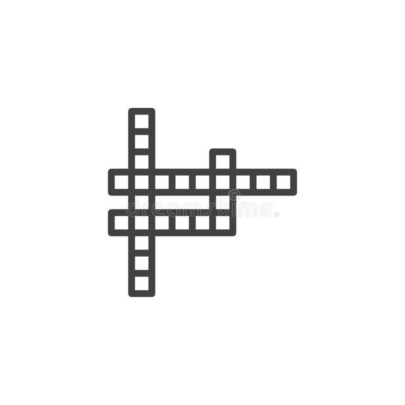 Ligne icône de jeu de mots croisé illustration de vecteur