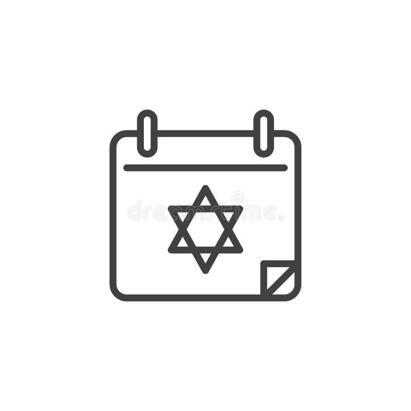 Ligne icône de jour civil de Hanoucca illustration de vecteur