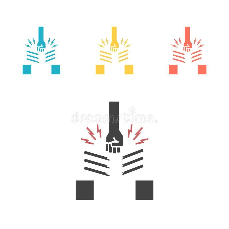 Ligne icône de karaté Rupture, arts martiaux Illustration de vecteur illustration libre de droits