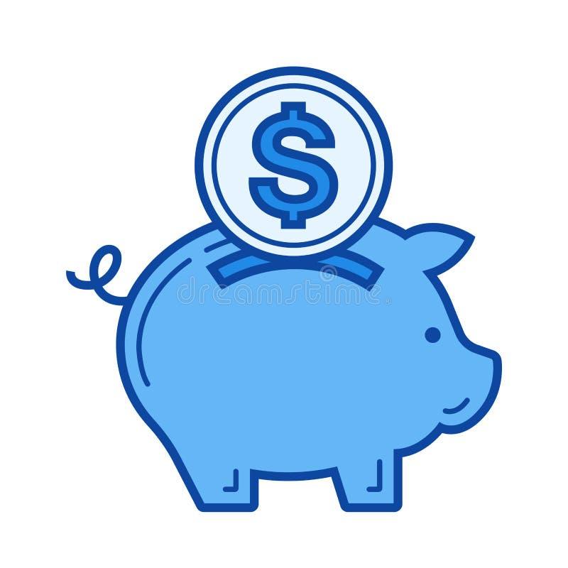 Ligne icône de l'épargne d'argent illustration stock