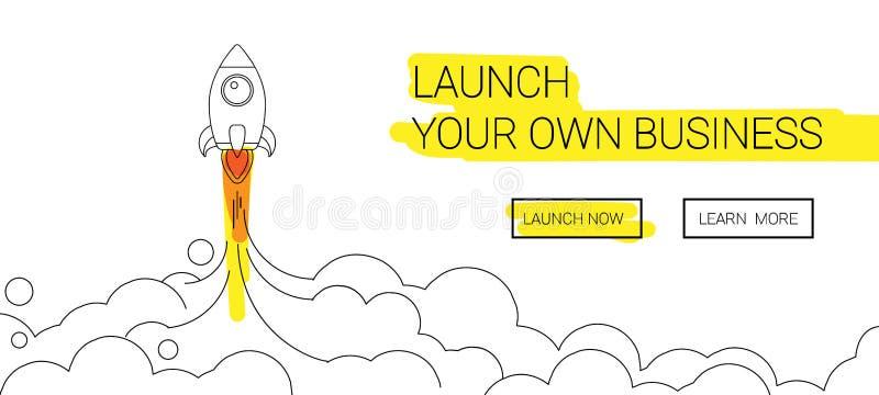 Ligne icône de lancement de fusée de Minimalistic Illustration de Rocket avec le feu de nuages, d'espace et de lancement, schéma illustration de vecteur