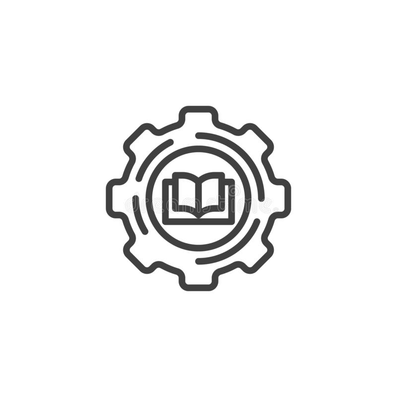 Ligne icône de livre et de vitesse illustration stock