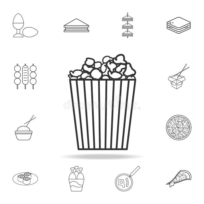 Ligne icône de maïs éclaté Ensemble détaillé d'icônes d'aliments de préparation rapide Conception graphique de qualité de la meil illustration stock