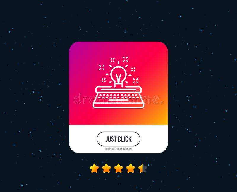 Ligne icône de machine à écrire Signe de créativité Vecteur illustration stock