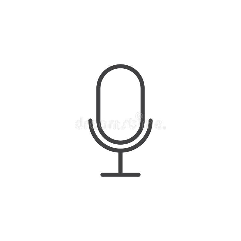 Ligne icône de microphone illustration stock