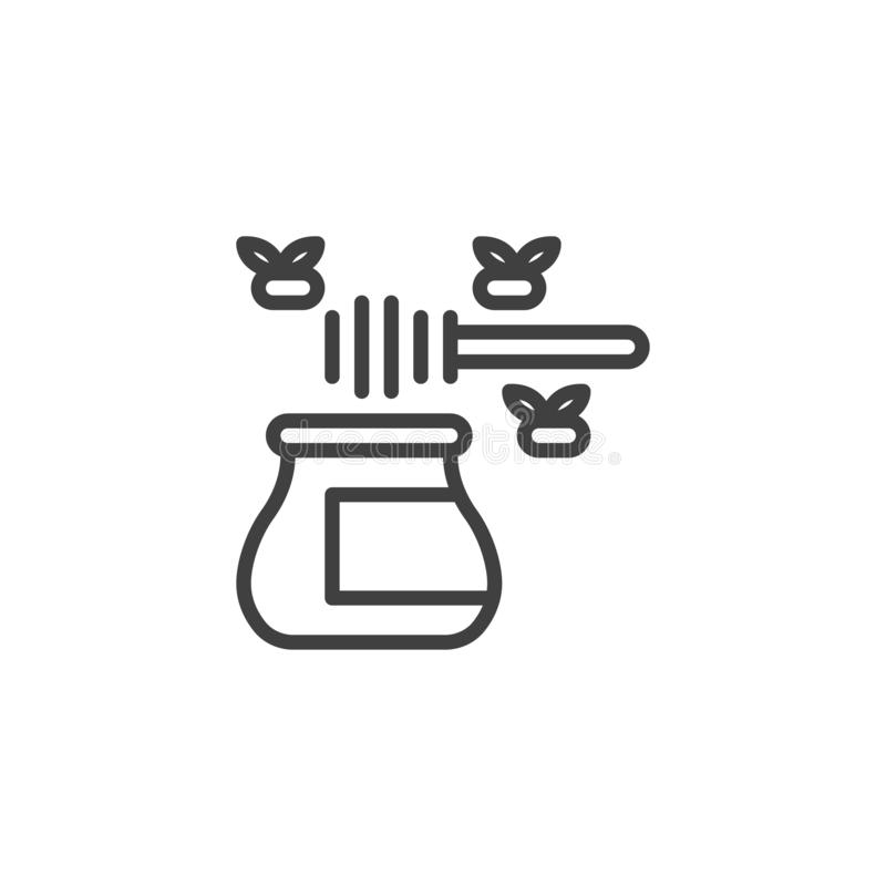 Ligne icône de miel d'abeille illustration stock