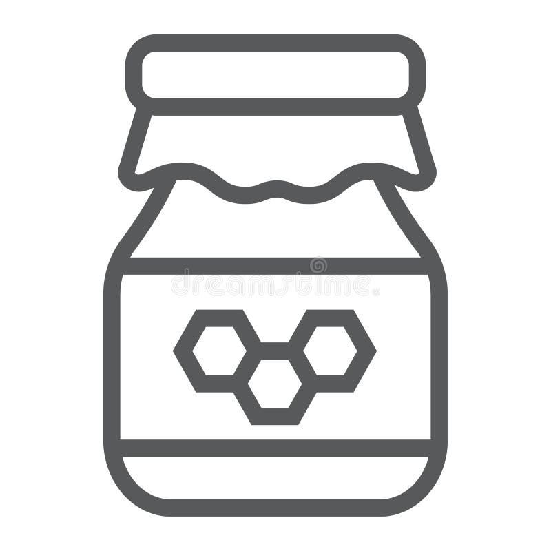 Ligne icône de miel, nourriture et abeille, signe de pot, graphiques de vecteur, un modèle linéaire sur un fond blanc illustration de vecteur