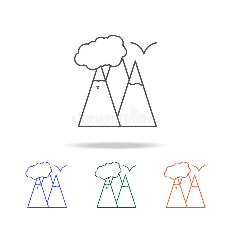 Ligne icône de montagnes Éléments de voyage dans les icônes colorées multi Icône de la meilleure qualité de conception graphique  illustration stock