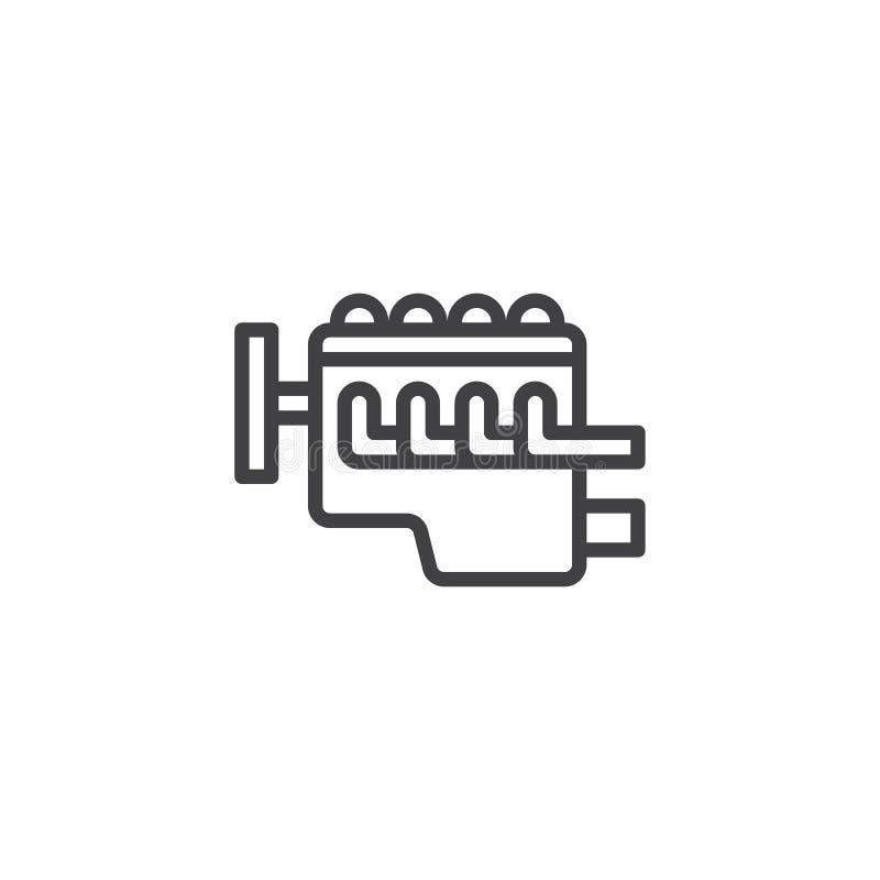 Ligne icône de moteur à combustion interne de voiture illustration de vecteur