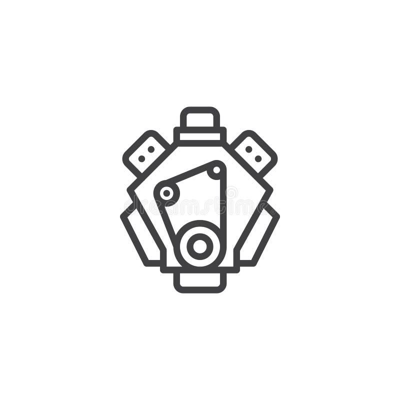 Ligne icône de moteur illustration de vecteur