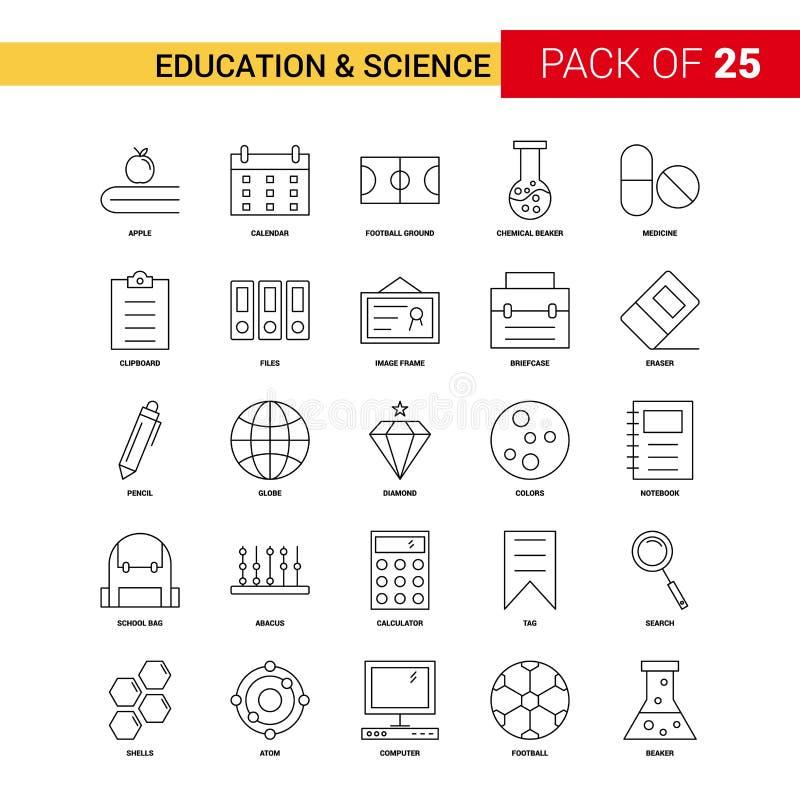 Ligne icône - icône de noir d'éducation et de la Science d'ensemble de 25 affaires illustration libre de droits