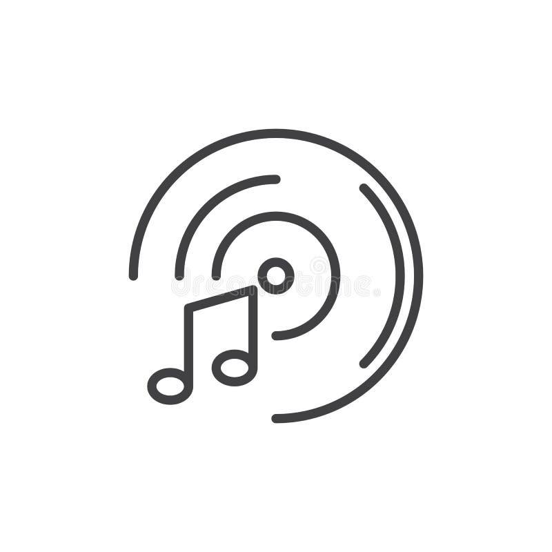 Ligne icône de notes de disque vinyle et de musique illustration de vecteur