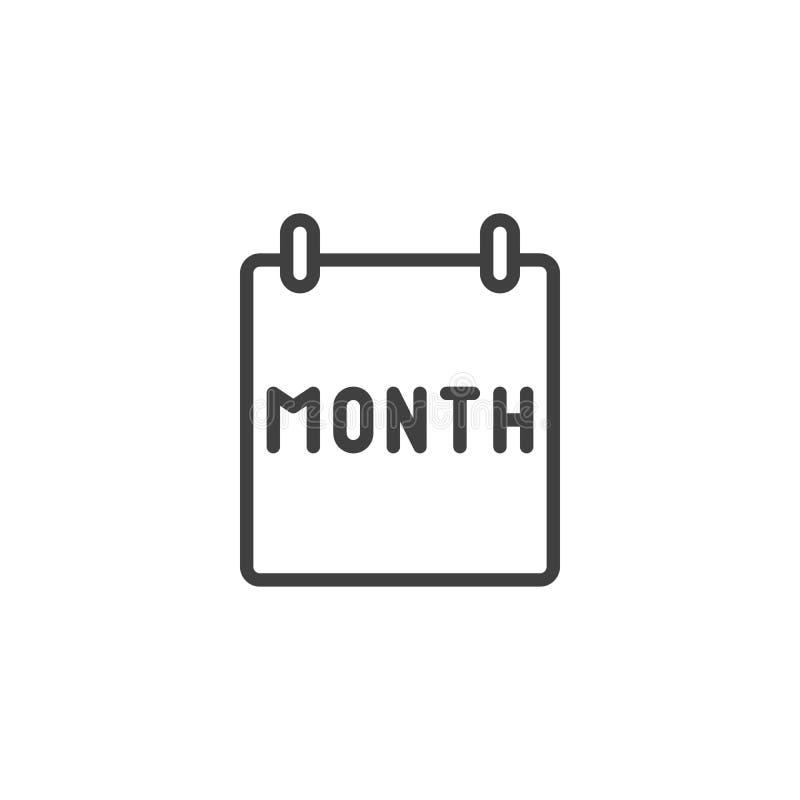 Ligne icône de page de mois civil illustration stock