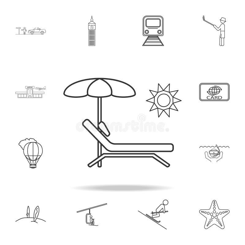 Ligne icône de parapluie de chaise et de plage Ensemble d'icônes de tourisme et de loisirs Signes, collection de meubles d'ensemb illustration de vecteur