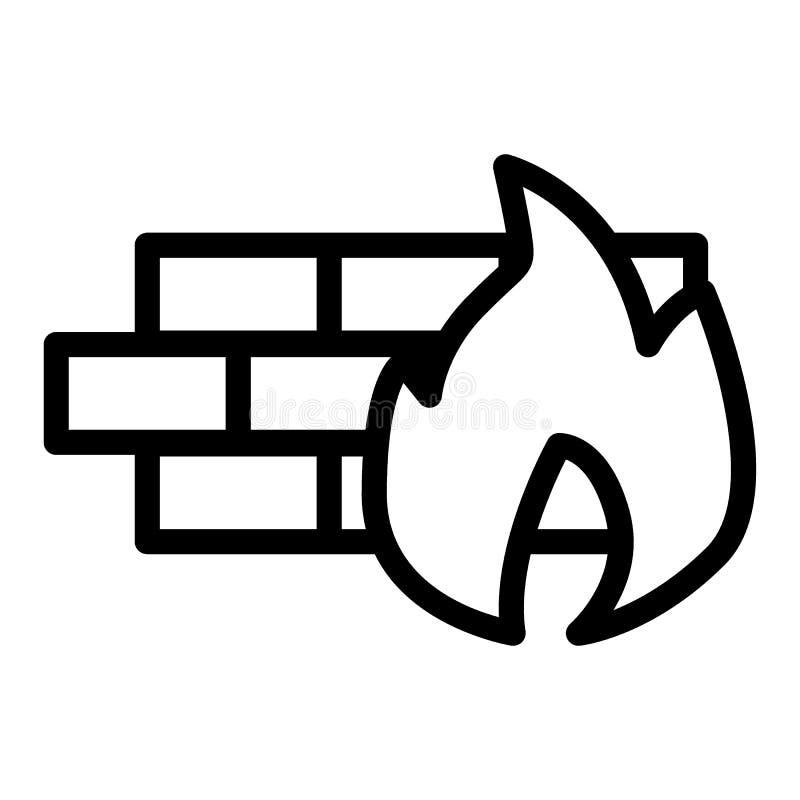 Ligne icône de pare-feu Illustration de vecteur de sécurité incendie d'isolement sur le blanc Conception de style d'ensemble de m illustration stock