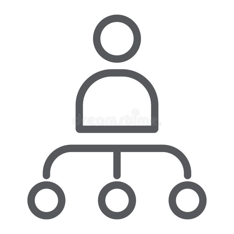 Ligne icône de personne et de diagramme, travailleur et diagramme, signe de structure, graphiques de vecteur, un modèle linéai illustration libre de droits