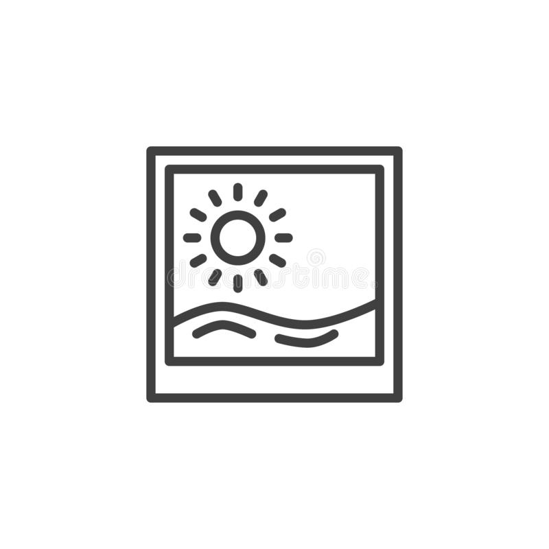 Ligne icône de photographie de vacances d'été illustration libre de droits