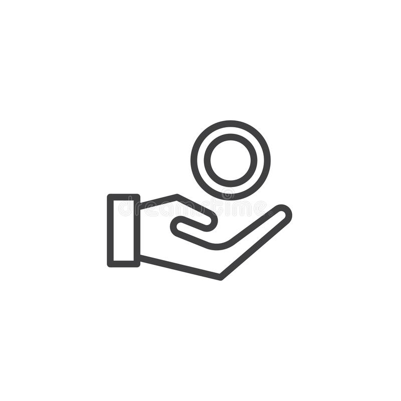 Ligne icône de pièce de monnaie en main illustration stock