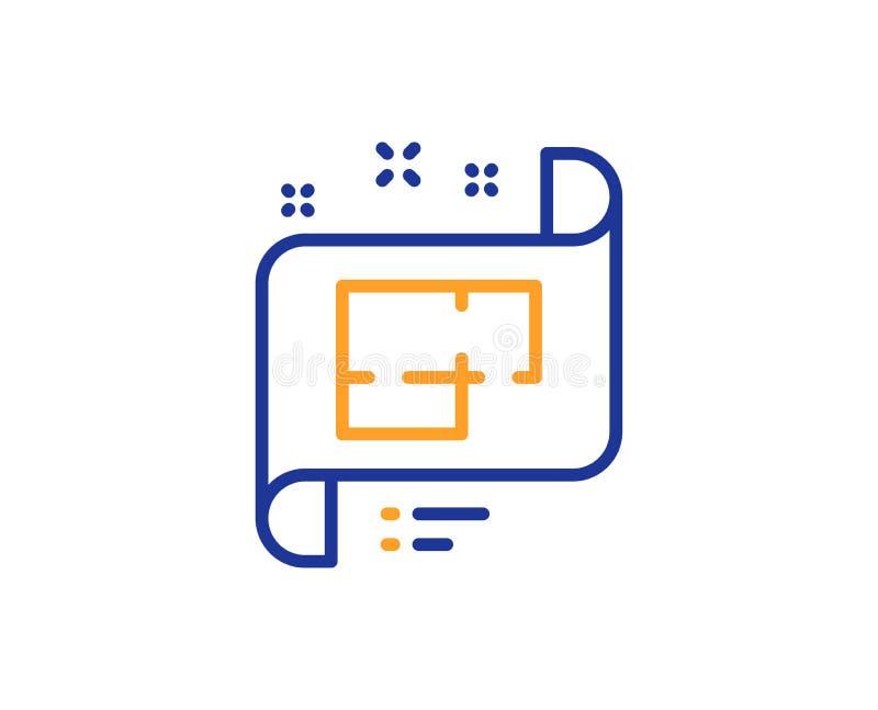 Ligne icône de plan architectural Signe technique de projet Vecteur illustration de vecteur