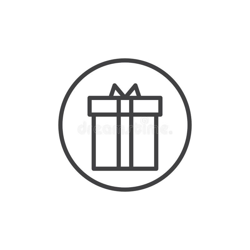 Ligne icône de présent de Noël illustration libre de droits