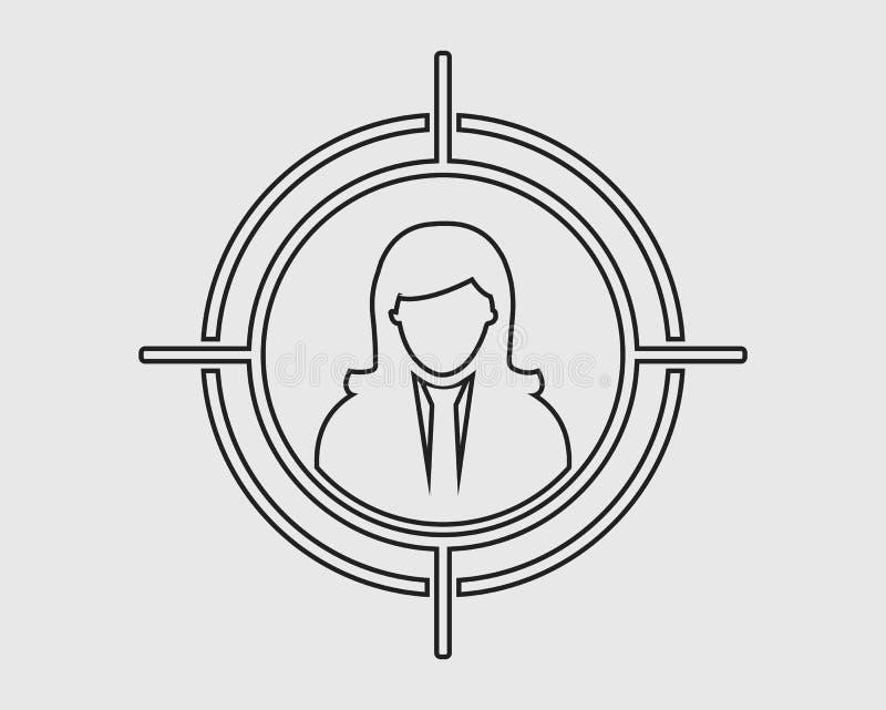 Ligne icône de public cible illustration de vecteur