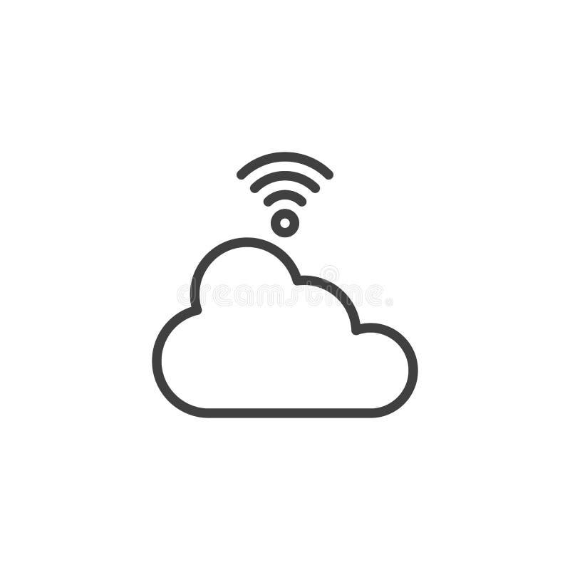 Ligne icône de réseau de nuage de Wifi illustration de vecteur