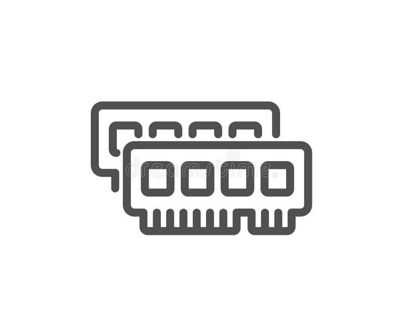 Ligne icône de Ram Signe composant de mémoire à accès sélectif d'ordinateur Vecteur illustration libre de droits