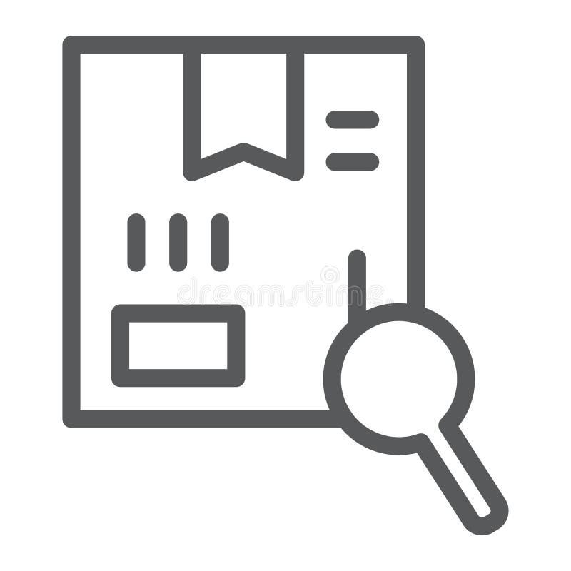 Ligne icône de recherche, cargaison et service, paquet dépistant le signe, graphiques de vecteur, un modèle linéaire sur un fond  illustration stock