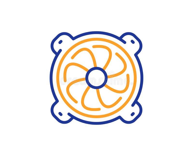 Ligne icône de refroidisseur d'ordinateur Signe composant de fan de PC Vecteur illustration stock