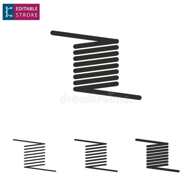 Ligne icône de ressort sur le fond blanc Course Editable illustration de vecteur