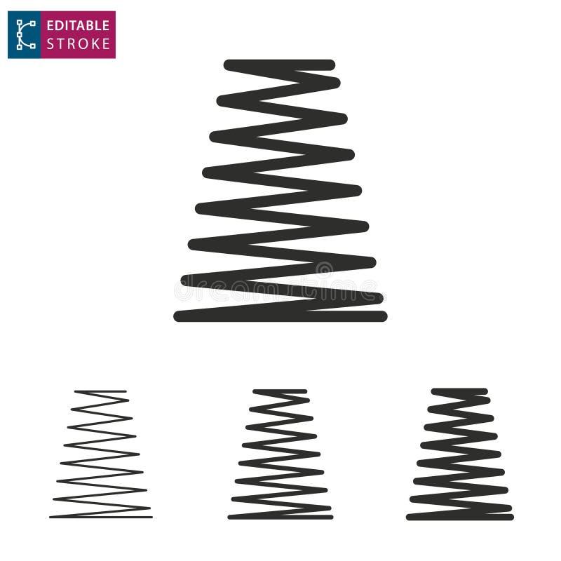 Ligne icône de ressort sur le fond blanc Course Editable illustration libre de droits