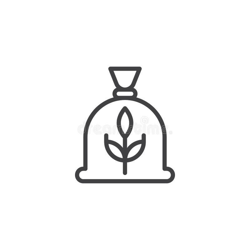 Ligne icône de sac de grain illustration stock