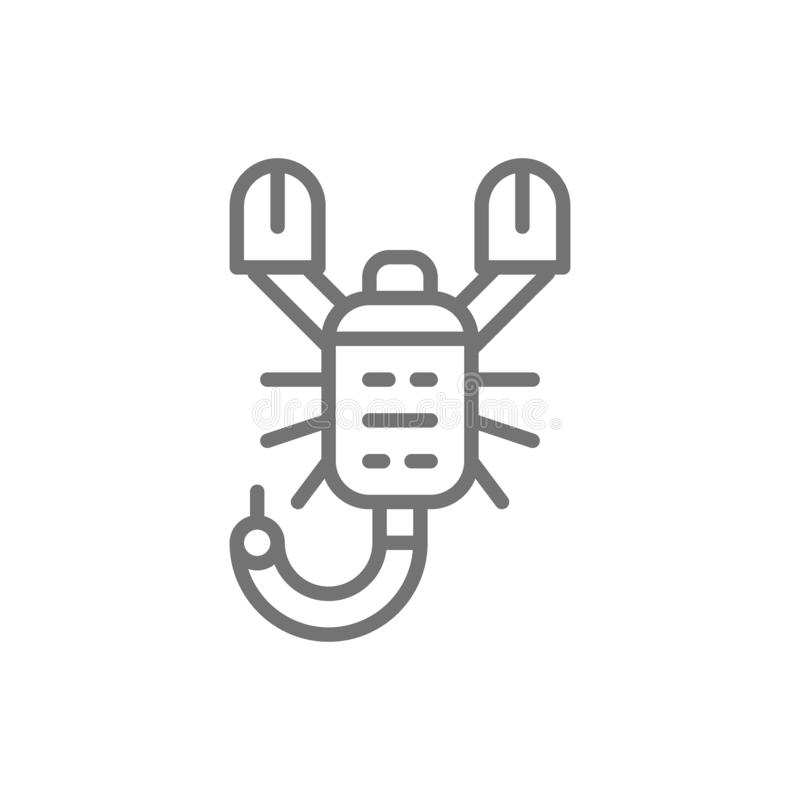 Ligne icône de scorpion illustration stock