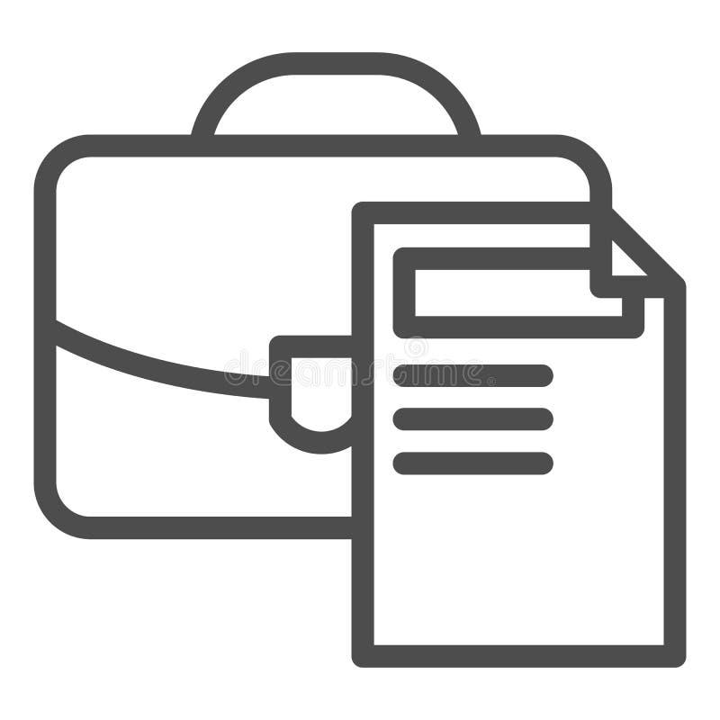 Ligne icône de serviette Illustration de vecteur de dossier et de document d'isolement sur le blanc Conception de style d'ensembl illustration libre de droits