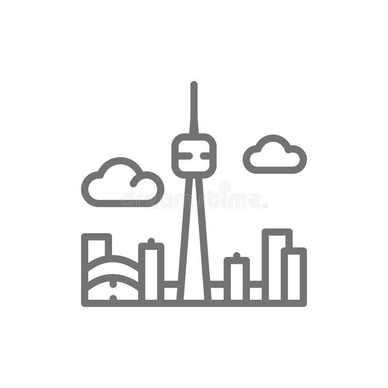 Ligne icône de silhouette de ville de Toronto Canada illustration de vecteur