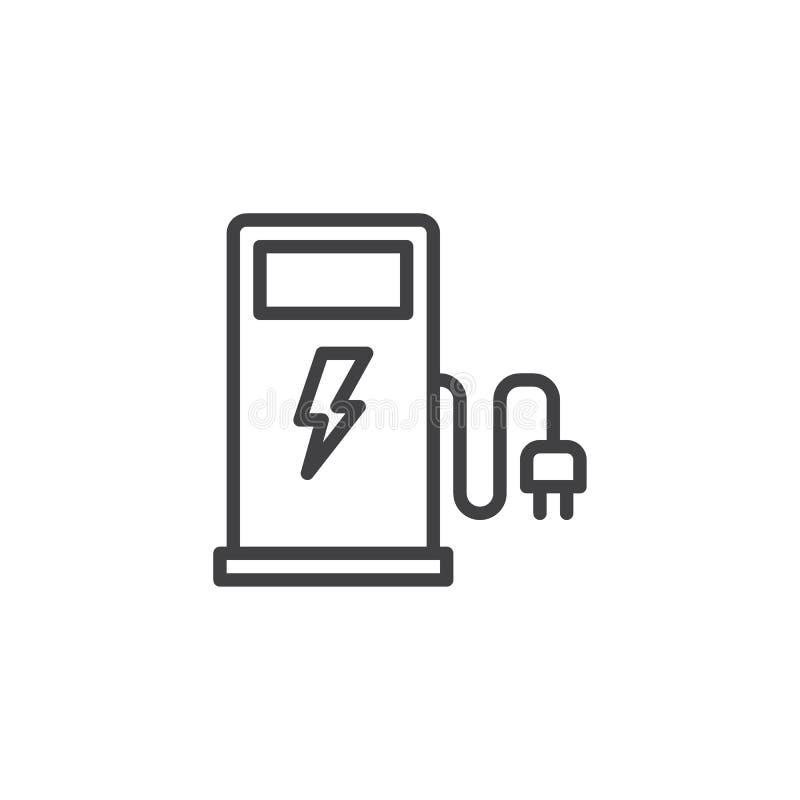 Ligne icône de station de charge de voiture électrique illustration de vecteur