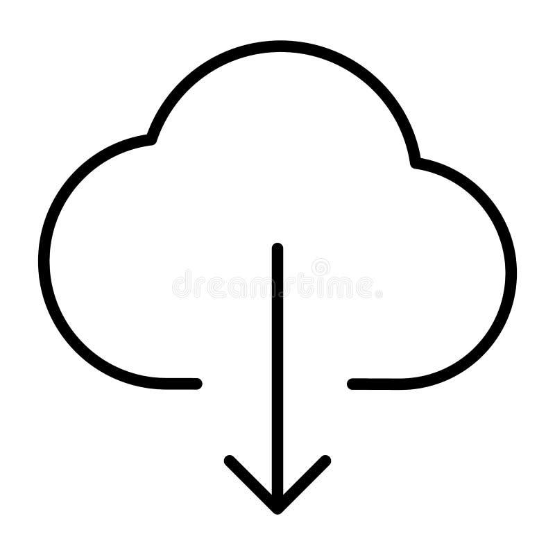 Ligne icône de téléchargement de nuage Pictogramme 96x96 minimal simple de vecteur illustration libre de droits