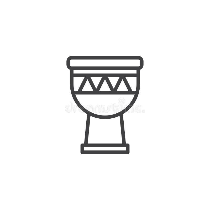 Ligne icône de tambour de Djembe illustration stock