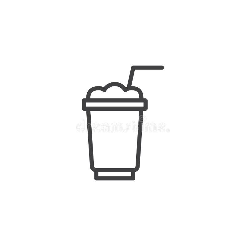 Ligne icône de tasse de milk-shake illustration stock