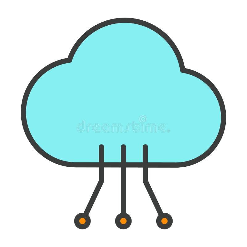 Ligne icône de technologie de nuage avec le modèle de circuit Pictogramme 96x96 minimal simple de vecteur illustration stock