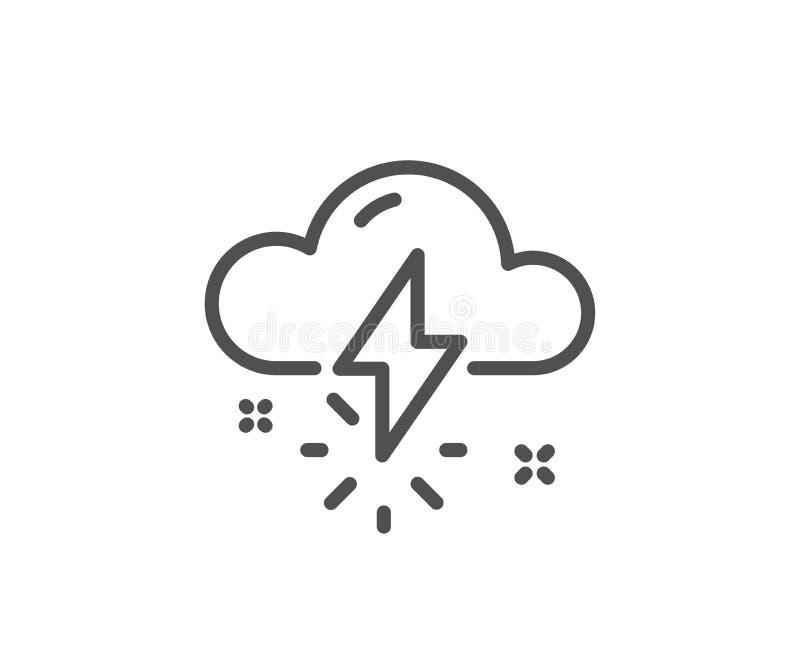 Ligne icône de temps d'orage Coup de foudre avec le signe de nuage Vecteur illustration de vecteur