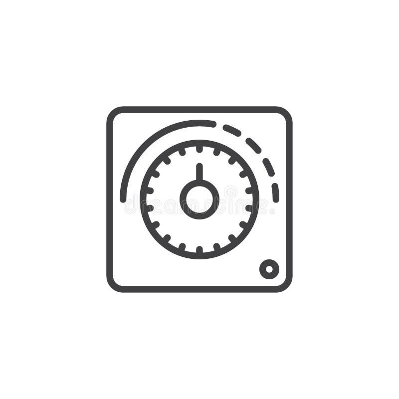 Ligne icône de thermostat illustration stock