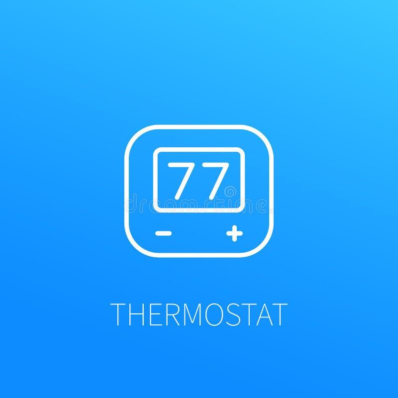 Ligne icône de thermostat illustration de vecteur