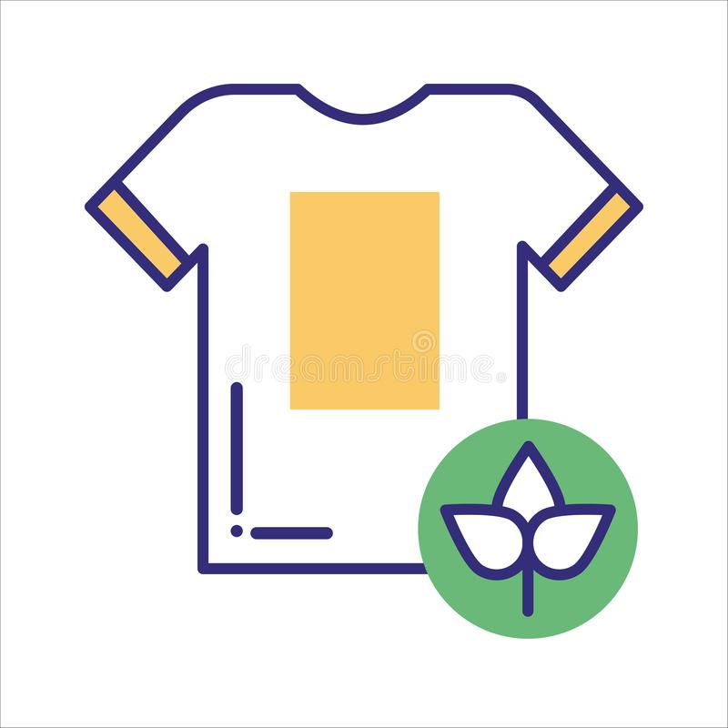 Ligne icône de tissu d'Eco de couleur Mode de vie de rebut z?ro Eco amical illustration de vecteur