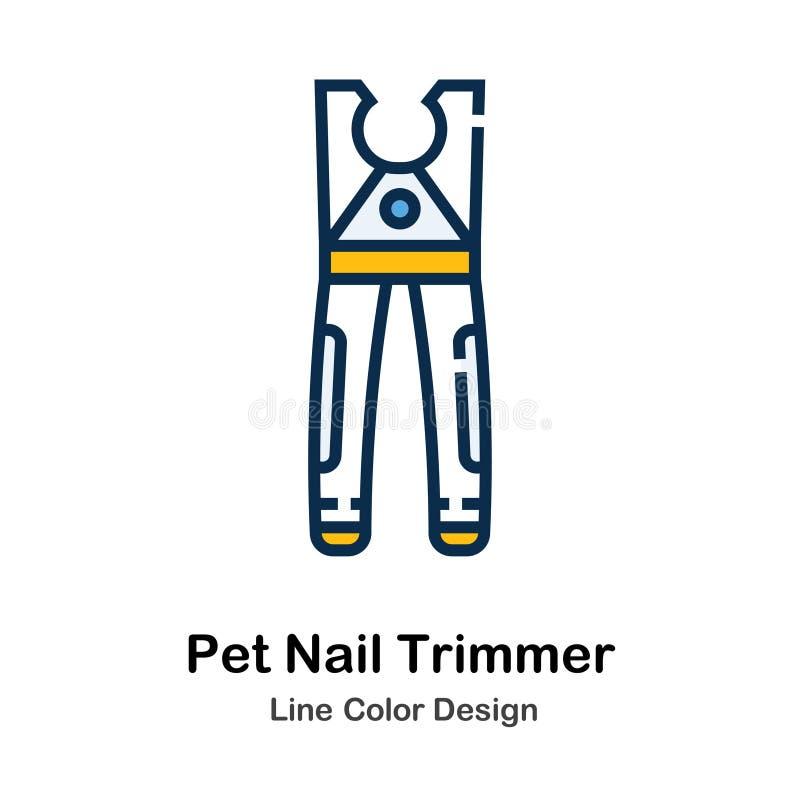 Ligne icône de trimmer de clou d'animal familier de couleur illustration libre de droits