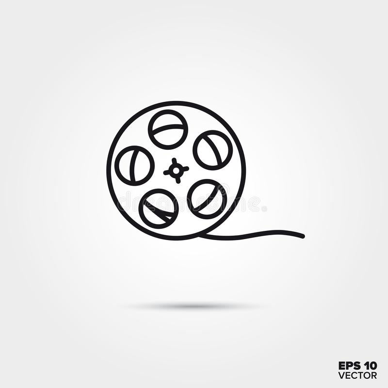 Ligne icône de vecteur de bobine de film illustration de vecteur