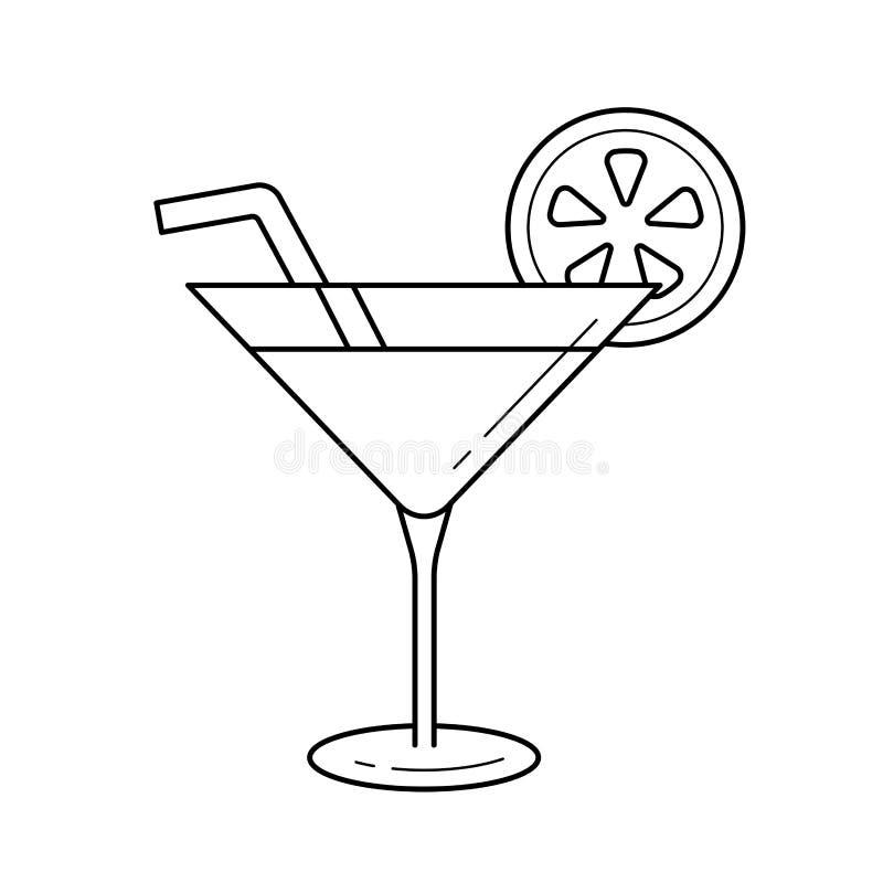Ligne icône de vecteur de boissons de cocktail illustration libre de droits