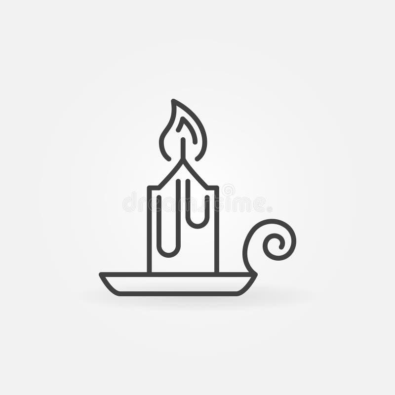 Ligne icône de vecteur de bougie de Noël Chandelier sur le symbole de support illustration stock